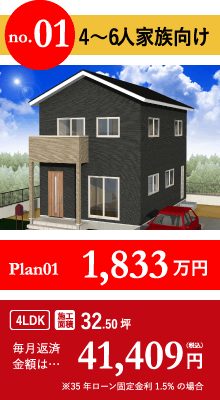 4〜6人家族向けPlan01 1,833万円 毎月返済金額は41,409円