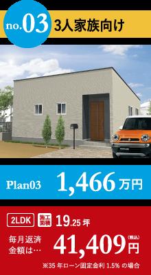 3人家族向け Plan03 1,466万円 毎月返済金額は…41,409円